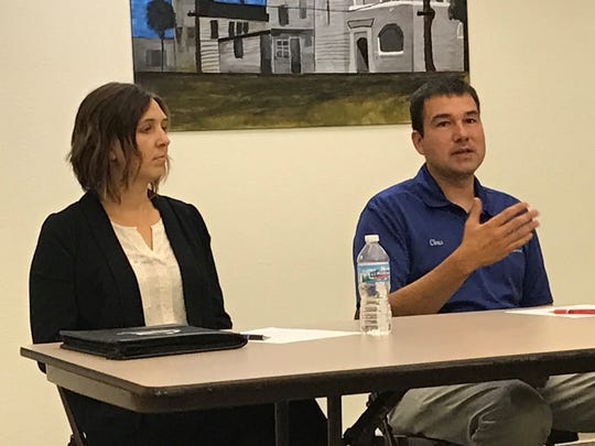 Ripon dairy farmer Chris Pollack explains the importance of agricultural exports to state elected officials during a Young Farmer and Agriculturist panel discussion hosted by the Fond du Lac County Farm Bureau on Aug. 14.