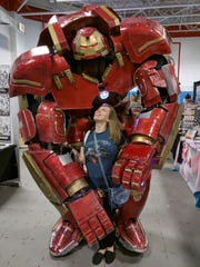 Kristin Coursen with a talented cosplayer dressed in the Iron Man Hulkbuster armor at the 2016 Garden State Comic Fest