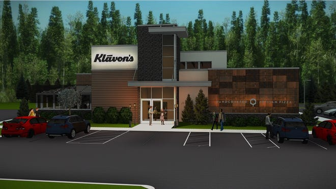 A rendering show's the exterior of the of Klavon's Pizzeria & Pub being constructed in Mason. A company official said the restaurant should open this fall.
