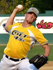 The Colt 45s' Cody Coggins delivers a pitch Sunday during their matchup against the Humboldt B-52s. The Colt 45s won 7-6.