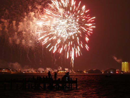 The view of the Pensacola Beach fireworks from Shoreline Park South in Gulf Breeze.