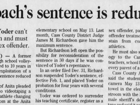 This clip from the Des Moines Register (Jan. 7, 1999) details Trent Yoder's sentence reduction in his exploitation of a minor conviction.