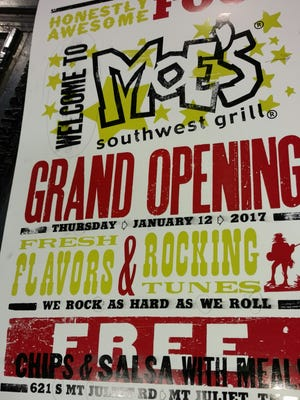 Moe's Southwest Grill is scheduled to open Thursday, Jan. 12, 2017 at a new retail center in Mt. Juliet.
