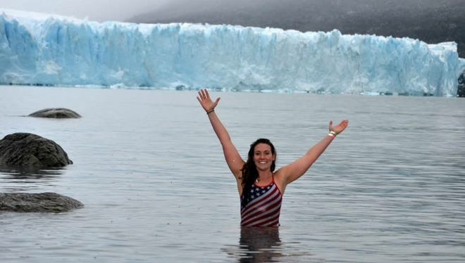 Devon Clifford at Perioto Moreno Glacier in Patagonia, Argentina, one of the many international areas where she has done open water swimming.