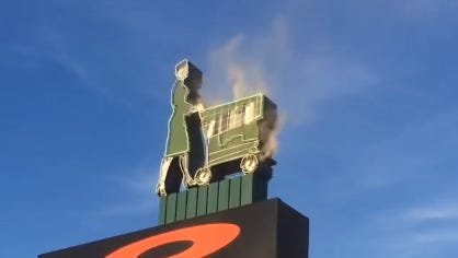 Playmakers in Okemos sign was smoking Tuesday.