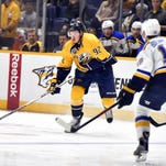 Predators center Ryan Johansen (92) looks to pass the puck in the first period Tuesday.