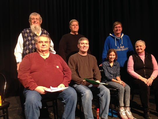 The cast of 'The Water Engine' includes, seated from