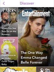Screen shot of Snapchat Stories content on a smartphone.