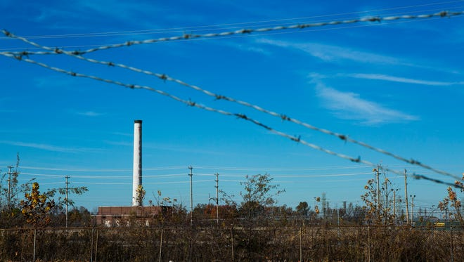 The smokestack is the only remaining structure from the Firestone Tire and Rubber Co. in its former North Memphis location.