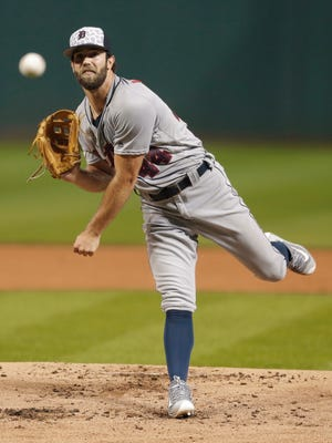 Tigers pitcher Daniel Norris delivers in the first inning Monday in Cleveland.