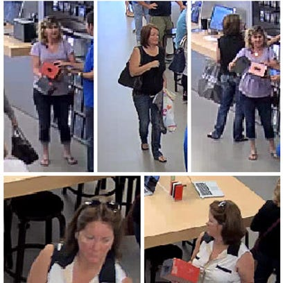 Surveillance images of two women accused of stealing