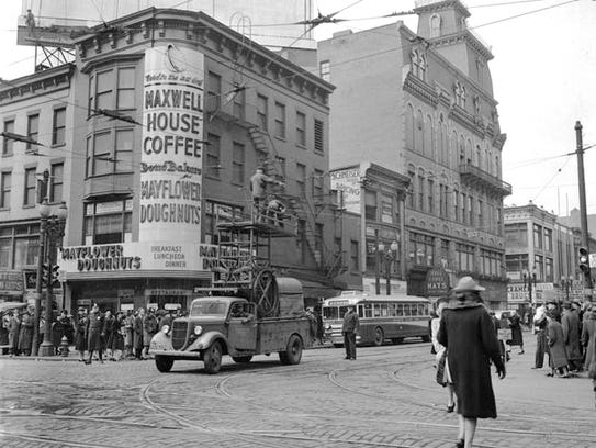 A view of the Mayflower Doughnut Shop at East Main