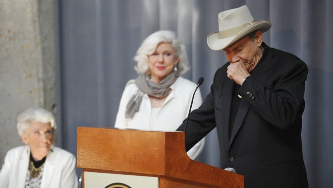 Maxine, from left, Bonnie and Jim Ed Brown of sibling trio The Browns attend a Country Music Hall of Fame induction announcement press conference in March.