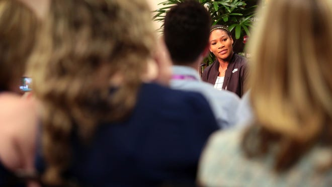 Serena Williams addresses the press at a March 12 press conference in Indian Wells.