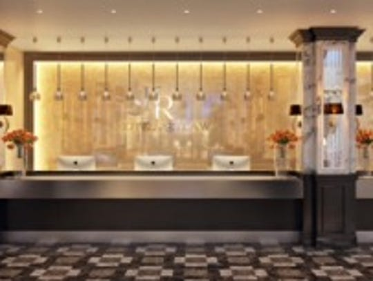 A rendering of the hotel's front desk after a planned remodeling project.