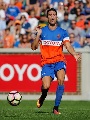 FC Cincinnati striker Danni Konig (11) reacts after he is unable to catch up to a pass in the first half during the USL soccer game between Orlando City B and FC Cincinnati, Saturday, May 13, 2017.