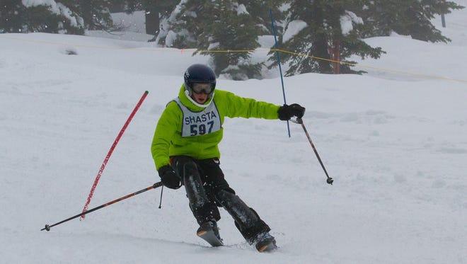 Shasta High's Paul Pressman took second place in the boys ski slalom race Monday at Mt. Shasta Ski Park.