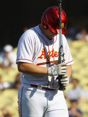 Palm Desert High School's Dylan Silver laments his at bat during their CIF Division 2 championship game against Etiwanda High School at Dodger Stadium on June 2, 2017. Etiwanda won 2-1.