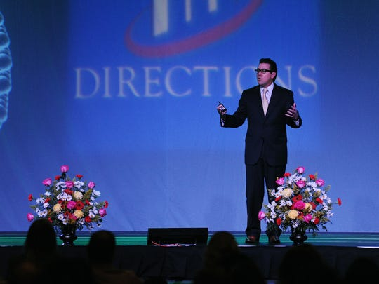 Jeremy Aguero, principal analyst for Applied Analysis, speaks during the annual Directions Economic Forum at the Silver Legacy Resort & Casino in Reno on Feb. 5, 2015.