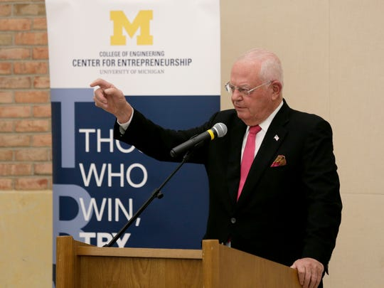 Venture capitalist and Michigan alumnus Dixon Doll speaks as he and his wife Carol are honored for their $2 million gift to endow the position of executive director of the U-M Center for Entrepreneurship at Michigan Engineering, University of Michigan in Ann Arbor.Thursday, November 3, 2016.