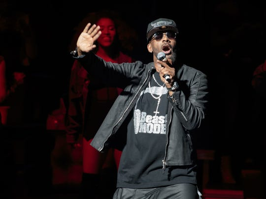 R. Kelly R. Kelly in concert at Bass Concert Hall, Austin, March 3, 2017.