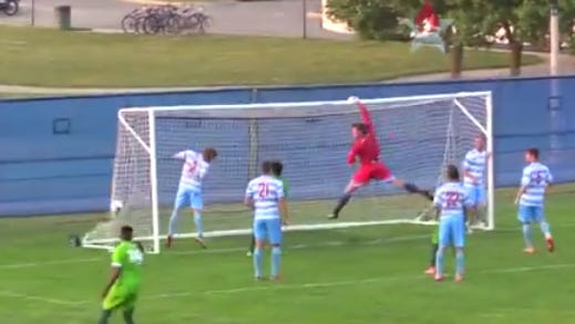 AFC United's corner kick in the 73rd minute Friday night finds the back of the net for a 1-0 lead. AFC Ann Arbor held on to win by that score.