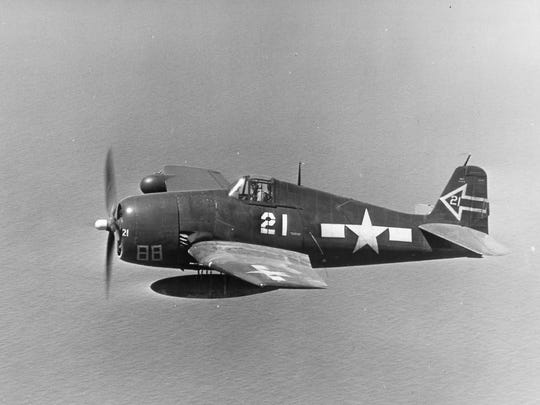F6F-5N Hellcat night fighter of Night Fighter Squadron 90 based on the carrier USS Enterprise, 1945.