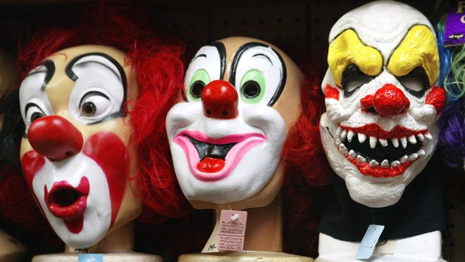 Clown masks are displayed