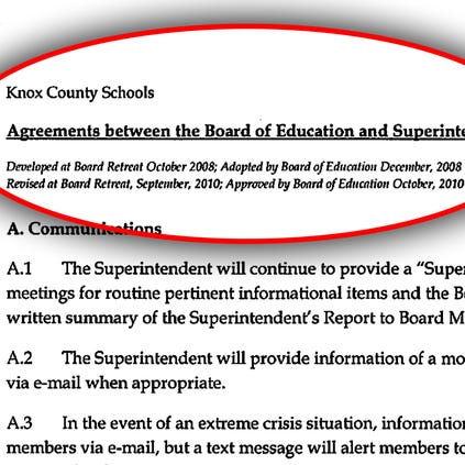 """First page of a written list of agreements between the Knox County """"Board of Education and Superintendent."""""""