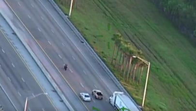 A screen grab of the video taken by a sheriff's helicopter shows the motorcycle fleeing.