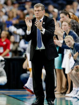 Head coach Geno Auriemma of the Connecticut Huskies has never lost an NCAA championship game.
