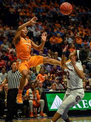 Tennessee Lady Volunteers guard Anastasia Hayes (1) passes the ball over South Carolina Gamecocks guard Tyasha Harris (52) in the second half of the game during round 3 of the SEC Women's Basketball Tournament at the Bridgestone Arena in Nashville, Tenn., Friday, March 2, 2018.