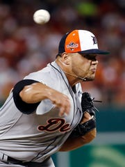 Detroit Tigers' Joe Jimenez pitches in the fourth inning