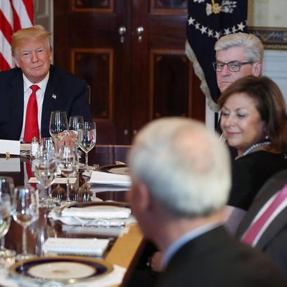 President Donald Trump hosts a meeting with governors
