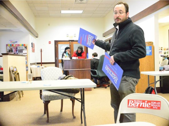 Bernie Sanders press aide Gregory Minchak in the campaign's Burlington heaquarters on Saturday afternoon.