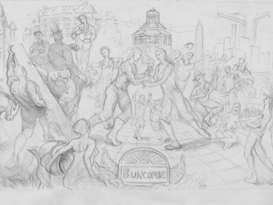 A drawing by Asheville artist Jason Rafferty that details the history of Buncombe County. The UNC Asheville student is vying to create a public art project on the wall of the Buncombe County Courthouse.