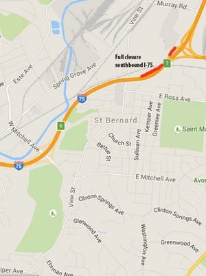 Bridge work will require a full closure of southbound I-75 at the Norwood Lateral Monday, Wednesday and Friday nights.