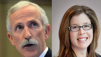 City Manager Gary Jackson and Mayor Esther Manheimer.