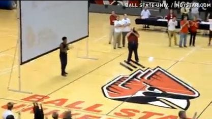 Incoming Ball State freshman Markus Burden on the court before his amazing shot.