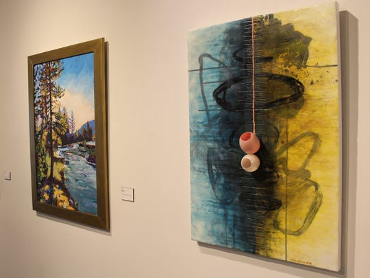 """Vernal Exigenes,"" an encaustic by Cara Hines, right, offers a three-dimensional element to contrast with a pair of two-dimensional paintings that are part of the group ""Spring"" show at The Center for Contemporary Arts."