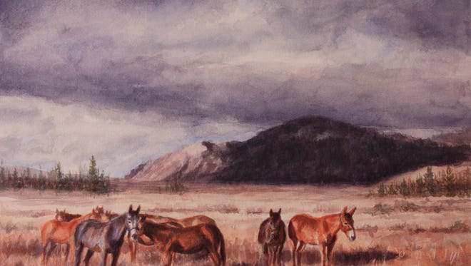 """Maggi Neal's """"Mountain Mules"""" is on display at Gallery 16 during First Friday Art Walk."""