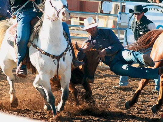 Cowboys were left empty handed during the steer wrestling competition at the New Mexico Rodeo Association Finals Nov. 14-15, of last year in Deming. The event was hosted by the Deming Visitor Center at Cowboy Park west of town.