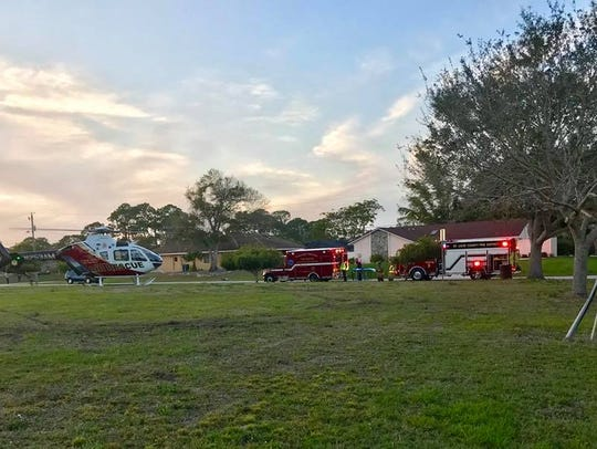 An 18-month-old was flown to a trauma center Saturday