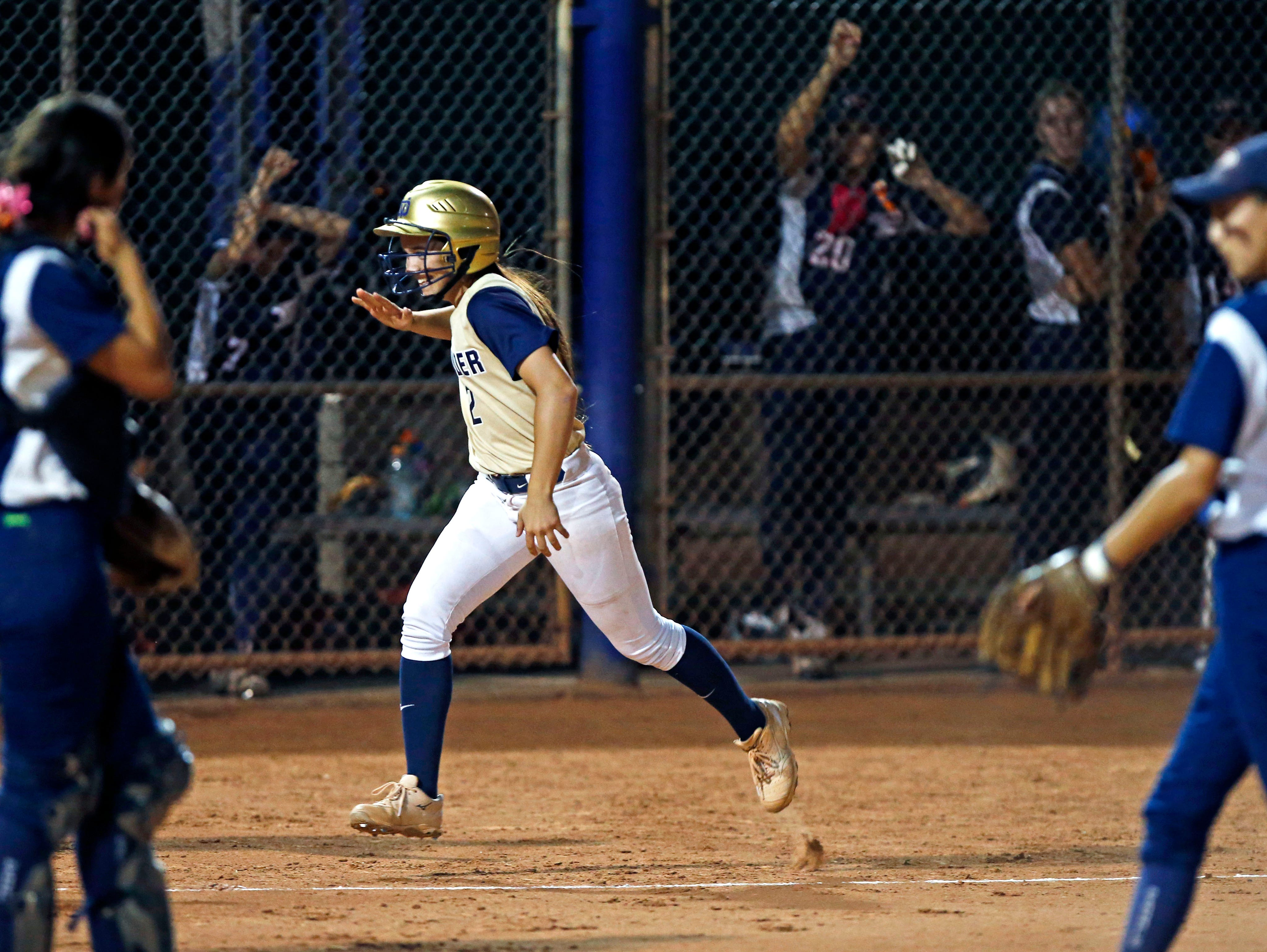 Rion Simms of Desert Vista heads for home after hitting a 3-run homer against Pinnacle in the sixth inning during the Division I state softball tournament on Wednesday, May 13, 2015, at Rose Mofford Sports Complex in Phoenix.