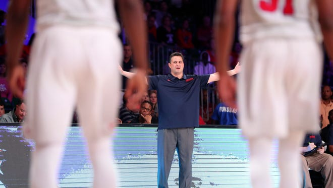 Arizona Wildcats head coach Sean Miller reacts during the second half against SMU in the 2017 Battle 4 Atlantis in Imperial Arena at the Atlantis Resort.