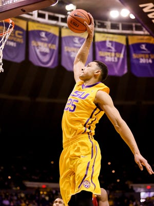 LSU Tigers forward Ben Simmons (25) misses on a dunk attempt during the first half of a game against the Arkansas Razorbacks at the Pete Maravich Assembly Center.