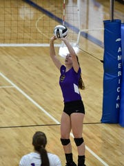 Lexington sophomore setter Olivia Kearns sets up a ball during Saturday's regional championship match against Ottawa-Glandorf. Lady Lex will face Chardon Notre Dame-Cathedral Latin on Thursday at 4 p.m. at Wright State