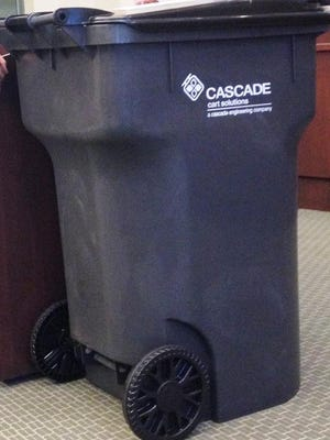 Automating trash pickup, through the use of wheeled bins like this one that can be emptied by trucks with robotic arms, was rejected Tuesday by the Plymouth Township Board of Trustees.