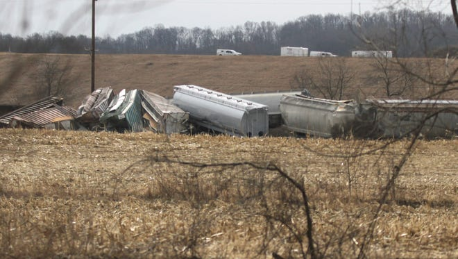 A Norfolk Southern train derailed just west of Loudonville in the early hours of Saturday morning. Two of the 14 derailed cars of the train carried propane and zinc oxide, which caused concern for emergency personal. State Route 39 between Loundonville and Perrysville was closed because of the derailment.