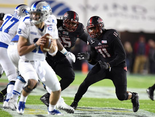 Arkansas State defensive end Ja'Von Rolland-Jones,